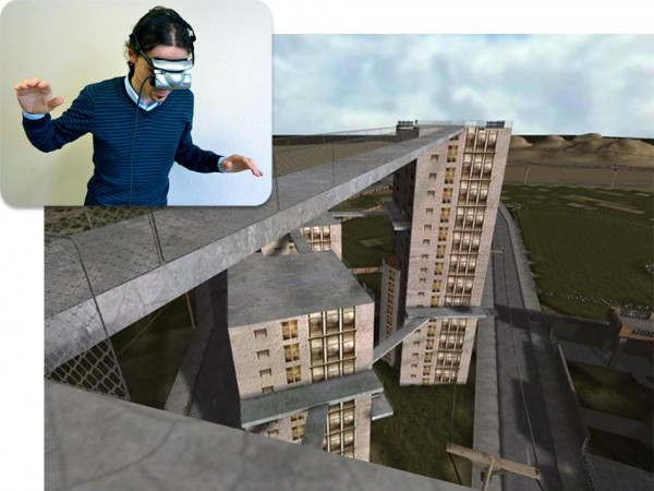 A man using virtual reality for acrophobia therapy